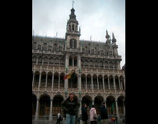 "Jack in Belgium in front of what the Europeans refer to as a ""very big building."""