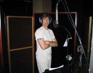 Jack recording background vocals