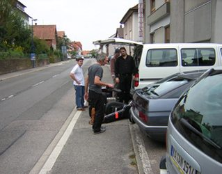 Loading up the van with Cacavas and crew.
