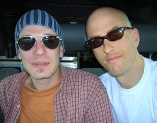 """Sid with Wieland """"Willy"""" Rochel, Chris' drummer."""