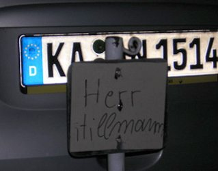 My reserved space at the hotel in Offenburg. Except for the misspelling, they were representin'.