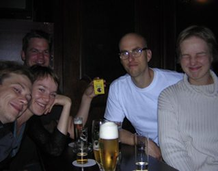 Sid and his friends from Cologne that he met during the last tour. Drinks after the show, featuring Sid's American Spirits.
