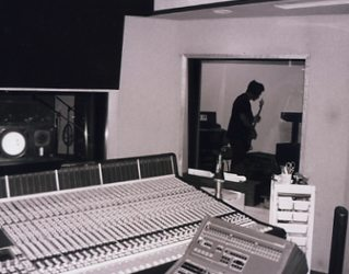 Jim playing during the recording of the drums at the Music Grinder