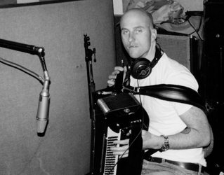 "Sid at McCurry's ""Shed"" recording some accordion."